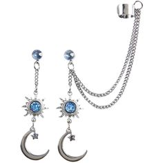 Hot Topic Blackheart Hematite Sun & Moon Drop Earring & Cuff Set ($5.52) ❤ liked on Polyvore featuring jewelry, earrings, multi, hematite earrings, chain drop earrings, blue earrings, cuff earrings and cuff stud earrings