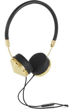 Frends' 'Layla' headphones are handcrafted from supple black leather and have gold-tone caps and comfortable memory foam ear cushions. They are tuned for optimum clarity with a three-button mic control, and neatly fold away into a soft carry case. Shop it now at NET-A-PORTER