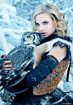 owl and warrior princess I can see an owl as a bird of Frigga, like her they see though the dark