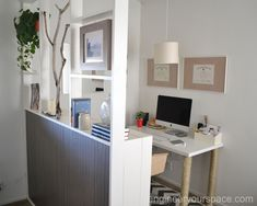 Creating a separate home office by making a DIY temporary #dividingwall with IKEA bookcases - perfect for rental apartments! #smallapartmentideas