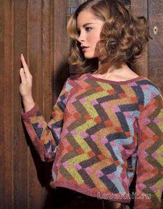 Спицами пуловер с геометрическим цветным узором фото к описанию