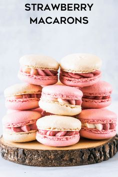 These are my Strawberry Macarons, filled with a delicious Strawberry Cream Cheese Frosting, made with freeze dried strawberries Strawberry Macarons Recipe, Strawberry Cream Cheese Frosting, Macaroon Recipes, Summer Desserts, Fun Desserts, Summer Treats, Best Dessert Recipes, Sweet Recipes, Cookie Recipes