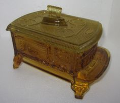 EAPG 1880 Kings, Sons Co Amber color STOVE/IRON Covered Candy /Butter Dish