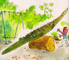 The Enormous Crocodile - Roald Dahl & Quentin Blake (illustrator) . secret plans and clever tricks! The Enormous Crocodile, Quentin Blake Illustrations, Roald Dahl Books, Crocodile Rock, Fair Theme, Children's Book Illustration, Book Illustrations, Beautiful Book Covers, Heart For Kids