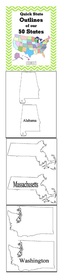 "Quick State Outlines of our 50 States! (51 pages)  Download Club members can download @ http://www.christianhomeschoolhub.spruz.com/governmenthistorygeography.htm (Under ""U.S. Government/Civics and More - US States"")"