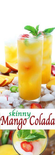 Skinny Mango Colada With (Optional) Jalapeños Skinny summer cocktail | summer cocktail | Healthy Summer Cocktail | Light Summer Cocktail | coconut water drink | coconut water cocktail | Mango recipes | Mango cocktail |Mango drink