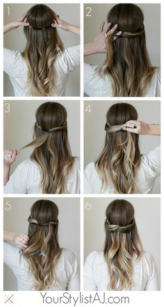 Quick and easy way to use a hair band to create a half up do which might actually stay in place../