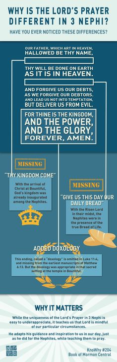 Infographic explaining the differences in the Lord's Prayer. Image by Book of Mormon Central. Book Of Mormon Quotes, Lds Quotes, Lds Seminary, Hymns Of Praise, Lds Books, Lds Scriptures, Lord's Prayer, Lds Church, Scripture Study