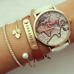 Ad.  Dreamer leather bracelet.  Looks so cute with the map travel watch.   #diamond #bracelet
