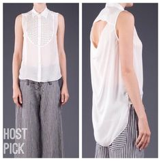 """HPElizabeth and James Hammered Silk Misaki Top Total Trendsetter Host Pick by @battags424 5/13/16Size M.  True to size loose fit.  Off white, 34"""" from shoulder to hem, studded embellishment at front, cut-out at back, extended back hem, front button closure.  Dry clean only.  100% silk.  No trades or PayPal. Elizabeth and James Tops Button Down Shirts"""