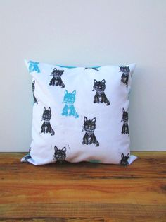 Cat Throw Pillow Cover. 16x16. Kitten in a Bandana. Hand Woodblock Printed. Choose ANY Color. Made to Order.