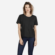 A gamine box cut tee made from the softest lightweight cotton we could find. The roomy cut is cropped to sit right above the hip. It features a boyish crew neck and pocket detail, and the fabric is a combed cotton that gets softer over time.