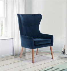 Midnight Blue Velvet Armchair with tapered wood legs. On trend colour in stunning velvet. Add to cart today. Retro Armchair, Blue Armchair, Velvet Armchair, Fabric Armchairs, Chair Fabric, Blue Velvet Fabric, Chair Leg Floor Protectors, Comfortable Accent Chairs, Dressing Table With Stool