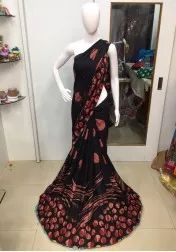 Mordern Black Color Pure Rayon Crepe Printed Saree at just Rs.599/- only on www.vendorvilla.com