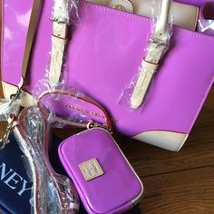 "Gorgeous 3 piece set New The color is Orchard patent Janine  great gift will ship within 24 hours new with tags  100% leather  key fob Id wristlet and dust bag great buy 13"" W x 10"" H pictures don't do this bag justice it is truly gorgeous Dooney & Bourke Bags"