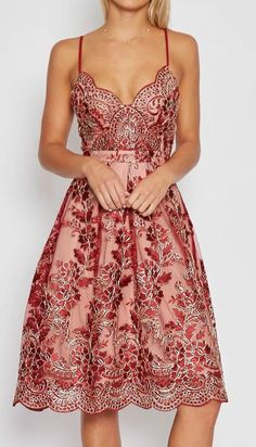 Spaghetti Strap Floral Lace Embroidery Party Dress