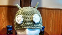 Green #Android beanie. Crocheted and very awesome!