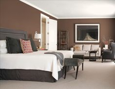 Bedroom Paint Color - Benjamin Moore Raisin - I love this color for our living room accent wall!!!