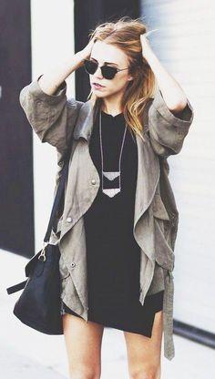 #fall #fashion / black dress + coat