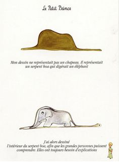 """""""My drawing is not a hat. It is a boa constrictor digesting an elephant. I then draw the elephant inside the boa constrictor, so that adults can understand. They always need explanations. Elefante Tattoo, Prince Tattoos, Sea Wallpaper, Boa Constrictor, French Quotes, The Little Prince, Childrens Books, All About Time, Literature"""