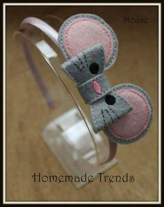 Mouse Headband-Baby Mouse Hair Bow-Mouse Felt by HomemadeTrends Felt Headband, Baby Headbands, Felt Flowers, Fabric Flowers, Felt Hair Accessories, Barrettes, Hairbows, Baby Bows, Ribbon Bows