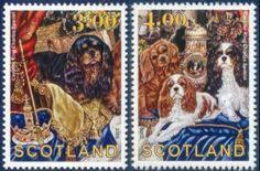 Cavalier King Charles Spaniel Dog Art 2 Postage Stamps 2006