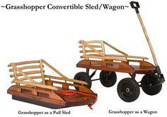 Grasshopper Convertible Wooden Wagon - Sled