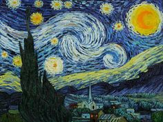 One of the today's most recognized paintings, Starry Night by Vincent Van Gogh is a classic painting that invokes emotions from the serenity of the church steeple to the wild abandon of color used for his late night sky. Imagine the movement of the painter as he twists and turns his brush to create the dance between the stars and the clouds under the calm, peaceful village.
