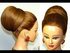 Bun, hairstyle for  medium long hair. Wedding prom updo. - YouTube