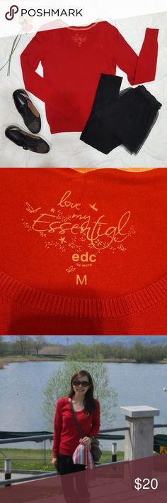 """Esprit red sweater EDC by Esprit red sweater that has only been worn once. Cute little cupid logo at front top left. Stretchy material.   Flat lay measurement: Shoulder: 15"""" Chest: 15.5"""" Sleeve: 24.5"""" Full length: 23""""  More photos or measurements can be provided upon request.  💁♀️ Add this to a bundle and send me an offer, no obligation 👧 Esprit Sweaters Crew & Scoop Necks"""