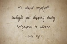 it's almost nightfall twilight just slipping away hedgerows in silence Meaningful Words, Haiku, Be Yourself Quotes, Twilight, Me Quotes, Tattoo Quotes, Ego Quotes, Haikou, Literary Tattoos