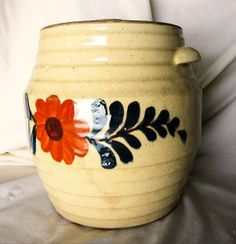 Collectible Stoneware Cookie Jar Crock Orange Flower