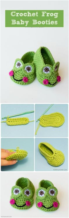 Crochet Frog Baby Booties - 17 Free Crochet Baby Booties Pattern / Crochet Baby Shoes - Page 3 of 4 - I Heart Crafty