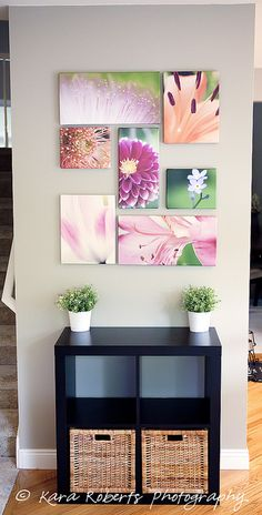 pretty macro wall display - I would make the smallest canvases bigger so they fill up the space.