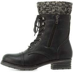 Charlotte Russe Knit-Trim Combat Boots (2.745 RUB) ❤ liked on Polyvore featuring shoes, boots, ankle booties, black, black booties, black military boots, black boots, flat booties and lace up booties