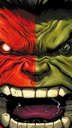 HULK RED ANGER CARTOON ILLUSTRATION ART WALLPAPER HD IPHONE