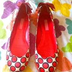 Betsy red & white polka dot shoes!!! Red , black and white polka dot flats!! Super cute!! I bought these from another PMer but sadly my feet are too wide!!! My loss your gain!!! They're in great shape a lil wear on bottom but that's all!! Betsey Johnson Shoes