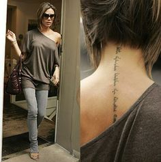 """Her tatoo is from the Song of Solomon. I am told the translation is """"I am my beloved's, and my beloved it mine."""" The fit is hot, too."""