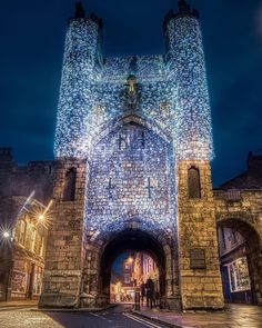 """York on Instagram: """"Getting closer to Christmas…always great to be in York! Photo of Monk Bar in chain mail lights 📷 by Alec Scott #york #yorkengland #yorkuk…"""""""