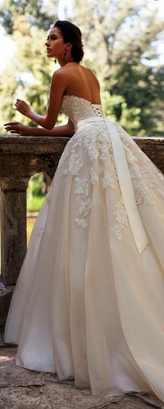 chic ivory lace wedding dress with lace-up back