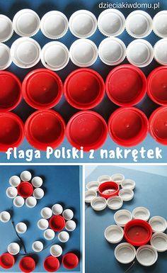 flaga Polski kreatywnie - pomysł na zabawę dla dzieci z nakrętek