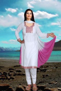 Cotton Chicken Churidar Suit With Mirror Embroidery