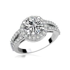 *Free shipping worldwide* Light your style up with this ring. A split shank design sparkles with brilliant-cut cubic zirconia and creates the perfect backdrop for the center stone. | bridal ring | wedding ring | bridesmaid ring | prom ring | silver ring | cubic zirconia ring | bridal jewelry | wedding jewelry | prom jewelry | bridal jewellery | wedding jewellery | prom jewellery