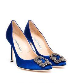 manolo blahnik hangisi satin pump royal blue
