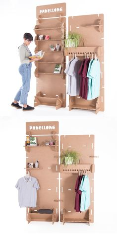 A multi-product display stand that is also an invitation to creativity. Useful for displaying creations in an itinerant and stimulating way when configuring your accessories. Craft Booth Displays, Pos Display, Display Design, Booth Design, Product Display, Cardboard Display Stands, Diy Cardboard Furniture, Cardboard Box Crafts, Cardboard Design