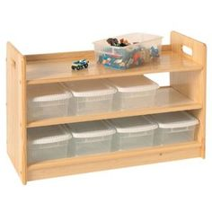 Wooden Toy Organizer. Probably could make one for way cheaper (use old shoe rack and dollar store shoe boxes)