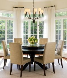 I like these window treatments for your bay windows in the breakfast area.
