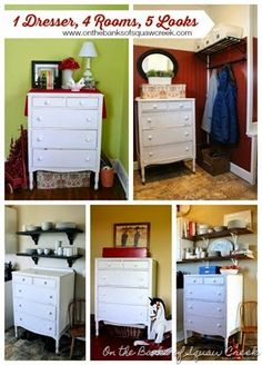 Dressers can be used for storage in any room of the house!  This antique dresser has been in my family for 4 generations and has been a vital part of our home organization.