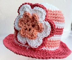 Knitted Baby Hat with Crochet Flower Brim by ConstantlyUnfolding, $12.50