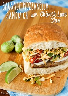 Sausage Mozzarella Sandwich with Chipotle Lime Slaw, Looking for a fun new sandwich? I slobber about this picture and can not wait to split it for myself. These Sausage Mozzarella Sandwich with Chipotle . Sandwich Recipes, Lunch Recipes, Dinner Recipes, Healthy Recipes, Dinner Ideas, Ham Recipes, Savoury Recipes, Brunch Ideas, Cheese Recipes